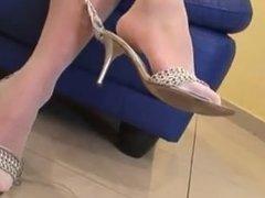 White nylon feet tease on couch