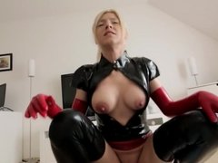 Blonde Fucked In Black and Red Latex