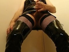 Wank in my boots and PVC