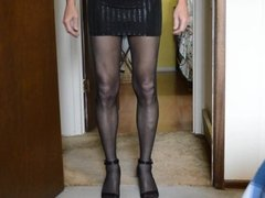 Upskirt in Micro Mini and Black Pantyhose