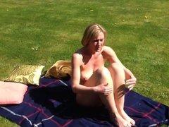 Shy british milf in her garden
