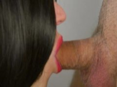Close up blowjob, cum in mouth - Cum play from hot wife