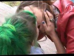 Lesbian teens fuck on the shore