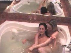 Busty mom seduces skinny young teen brat in bath tub