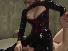 Brett Rossi in latex deny skinny boy orgasm