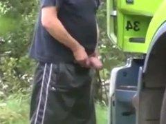 Trucker Pissing Then Jerking Off
