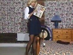 Girl in school uniform masturbates