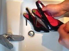 Cum on black slingback heels