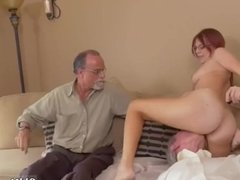 Old man cumshot and forces young girl