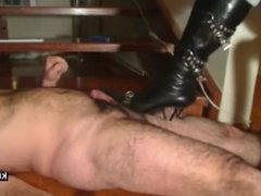 stiletto boots kicking on my dick