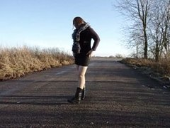 Crossdresser and street hooker outdoor (gay Zhenya)