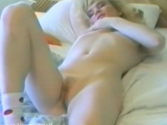 Small Tits Blonde Fucks Herself With A Dildo