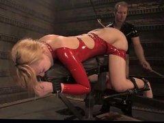 Latex slave anal fucked in BDSM scene