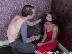 tiny submissive babe, Luna Lovely, gets throat fucked by Master Gray