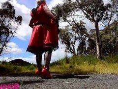 Sissy Faggot Ray in Red Sissy Dress in Roadside Rest Area