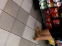 Decent mature lady in yoga pants at the gas station