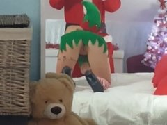 Young amateur couple fuck in a christmas cosplay