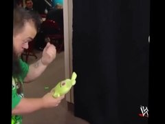 The Bitch AJ Lee kisses Hornswoggle.