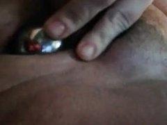 Hairy pussy ben wa balls insertiin