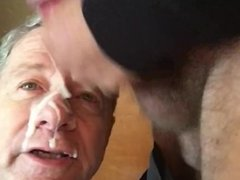 Superior Man Jacks Off All Over the face of an old cocksucking faggot