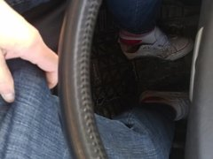 Driving in trashed converse