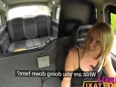 Female Fake Taxi Busty blondes hot cab creampie with husband