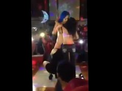 Same bluehaired sripper dances with girls