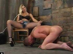 Blonde babe makes him her slave