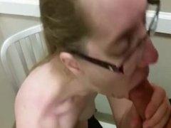 Public dressing room blow job and swallow