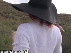 Redhead MILF in a BDSM outoor video