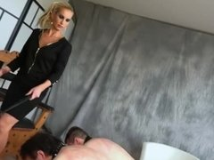 Two slaves whipped by strict blonde mistress