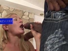Slut blonde Paris goes for a 2 big black dicks tag team