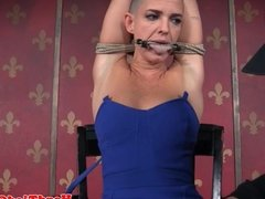 Bald bdsm sub tied up and whipped by maledom