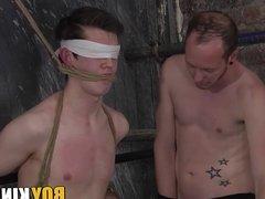 Dominant twink throat fucking his blindfolded sub