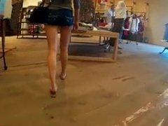 Skinny Bubble Butt Candid Teen Ass Shopping In Jean Shorts