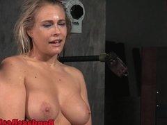 Machine fucked bonded slut throated deeply