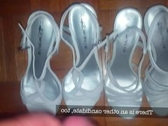 Pissing and cumming wife's white wedding sandals (barefoot)