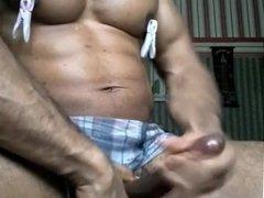 Dirty talk shoot load attractive black athletic bodybuilder