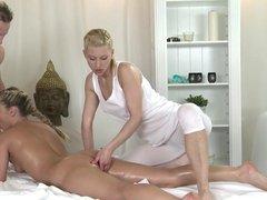 MFF Massage makes him cum twice