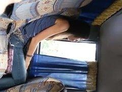 Flasher cums in bus near girl