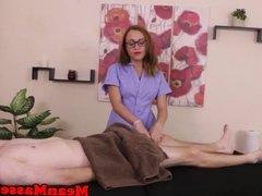Mean masseuse ties up balls during handjob