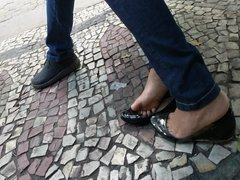 Amazing candid feet play in flats soft soles cute toes