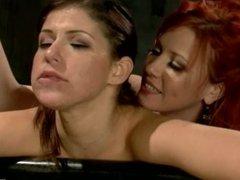 (Lezdom) Redheaded Lesbian Mistress ties and fucks her slave