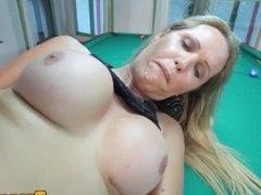 Heeled busty tgirl tugging cock on pool table