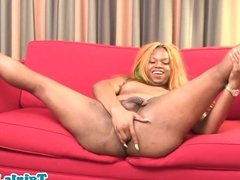 Amateur black chubby tranny solo pulling cock