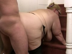 Mega-tits fatty takes it from behind