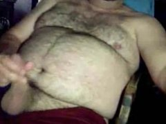 Hairy bear jacking off