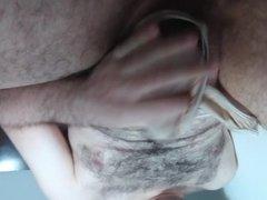 cumshot with his girlfriend's panties