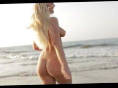 Stunning blonde posing naked on the beach