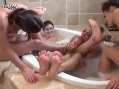licking feet in bath